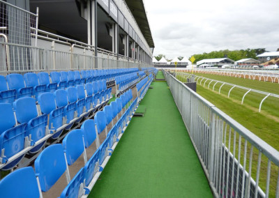Temporary Grandstand Seating Hire for Horse Racing Carnivals by No Fuss Seating Systems