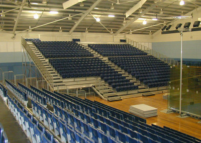 Temporary Grandstand Seating Hire for Indoor Courts by No Fuss Seating Systems
