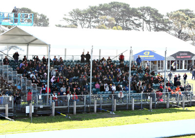 Shade covered grandstand seating